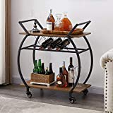 LVB Bar Cart with Wine Rack, 2 Tier Kitchen Cart on Wheels, Modern Wood and Metal Portable Coffee Cart Table for Home, Utility Industrial Mobile Serving Cart with Storage Shelf, Rustic Oak