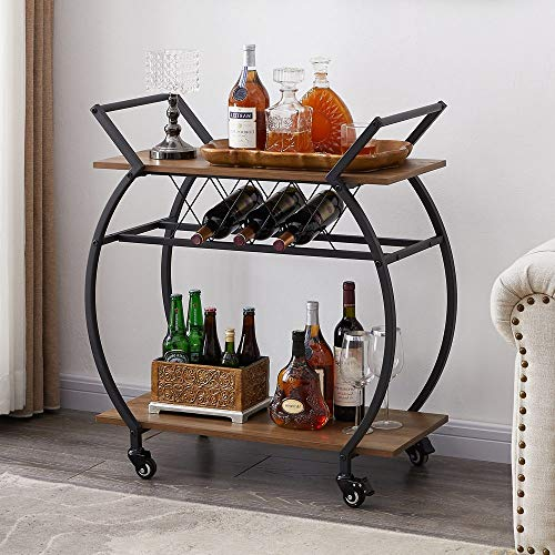 rustic bar carts LVB Bar Cart with Wine Rack, 2 Tier Kitchen Cart on Wheels, Modern Wood and Metal Portable Coffee Cart Table for Home, Utility Industrial Mobile Serving Cart with Storage Shelf, Rustic Oak