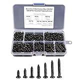 500 Piezas Negro Tornillos Autorroscantes,Kit de Tornillos madera de acero al carbono,Siete tamaños diferentes tornillos con caja de compartimiento (M3 x 6/8/10/12/16/18/20 mm)