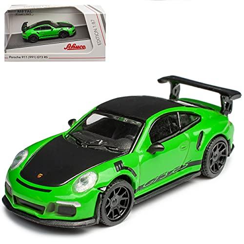 Porsche 911 991 GT3 RS Coupe Grün mit Schwarz Modell 2011-2019 H0 1/87 Schuco Modell Auto mit individiuellem Wunschkennzeichen