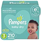 Diapers Size 3, 210 Count - Pampers Baby Dry Disposable Baby Diapers, ONE MONTH SUPPLY