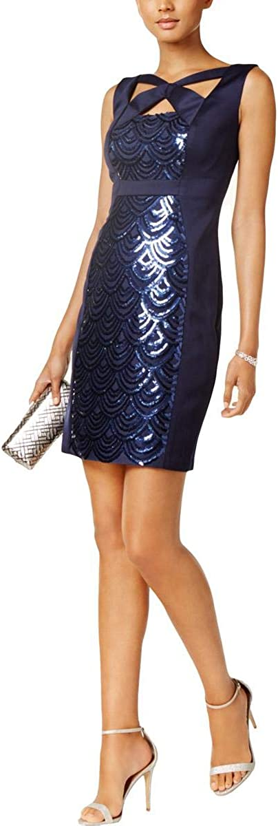 Connected Women's Sequined-Panel Cutout Dress