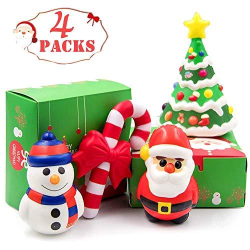 heytech Santa Jumbo Squishies Toys Slow Rising Christmas Santa Jumbo SQUISHIES Pack: Santa, Snowman, Christmas Tree, Crutch, Gift Box! 4 Pack