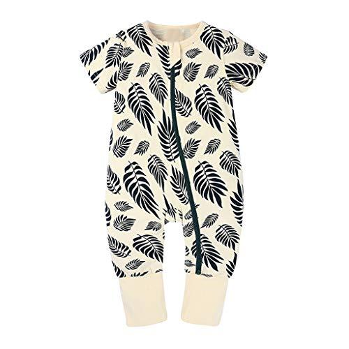 Xmiral Kleinkind Kinder Unisex Reißverschluss Cartoon Strampler Jungen Mädchen Kurzarm Overall Neugeborenen Schlafanzug Nachtwäsche(Beige,2-3 Jahre)