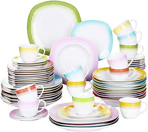 VEWEET Tafelservice \'Spark\' aus Porzellan 60 teilig | Kombiservice beinhaltet Kaffeetassen 200 ml, Untertasse, Dessertteller, Speiseteller und Suppenteller| Komplettservice für 12 Personen
