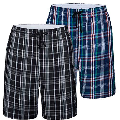 JINSHI Herren Schlafanzughosen Baumwolle Karierte Pyjamahose Nachtwäsche Sleep Hose Kurz Sommerhose 2er Pack Größe L