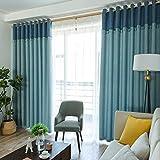 HAOLY Cortinas de algodón,Antisolares Blackout,Purdah Dormitorio,para Dormitorio Ventana de la bahía 1pcs-A 200x270cm(79x106inch)