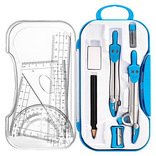 Geometry Set 10 Pieces Math Supplies Kit,Including Compass,Protractor,Ruler,Eraser,Pencil,Lead Refills,Pencil Sharpener,Storage...