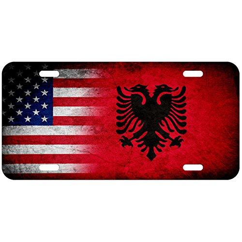 ExpressItBest High Grade Aluminum License Plate - Flag of Albania (Albanian) - Rustic/USA