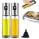 Pulverizador Spray Oliva Aceite,Dispensador de pulverizador de Aceite Premium 304 Acero Inoxidable Botella de Vidrio 100 ML para cocinar/Ensalada/Hornear Pan/BBQ/Cocina(2 Piezas) (100ml/3.4 oz)