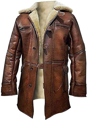 HiFacon Bane Dark Knight Rises Tom Hardy Shearling Winter Brown Trench Leather Coat
