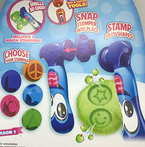 Scentos Scented Dough Season One - Stamp Silly Shapes - Blue Stamper Tool - 10 Pieces 4 Different Scented Dough, 1 Stamper Tool and 5 Dough Stampers