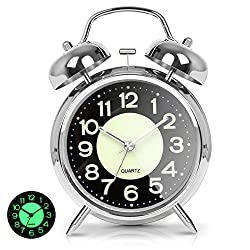 AYRELY Retro 4 inches Battery Operated Twin Bell Loud Alarm Clock,Silent Non-Ticking Analog Quartz with Backlight for Bedroom/Heavy Sleepers (Silver)