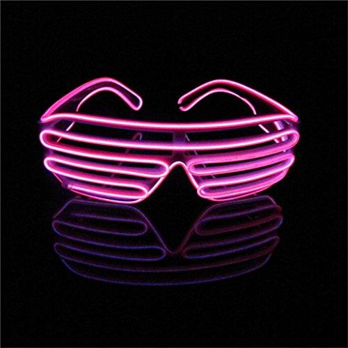 ERGEOB Light Up El Draht Brillen für Party Bar Club EL Augenbrille für Spaß pink