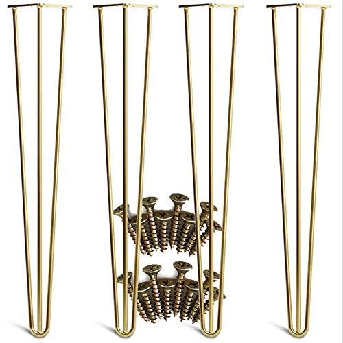 ASDF 4 Gold Hairpin Beine für Easy Set installieren Metallbeine für Möbel Mid Century Modern Beine für Kaffee und Ende Tische, Stühle,11.8in