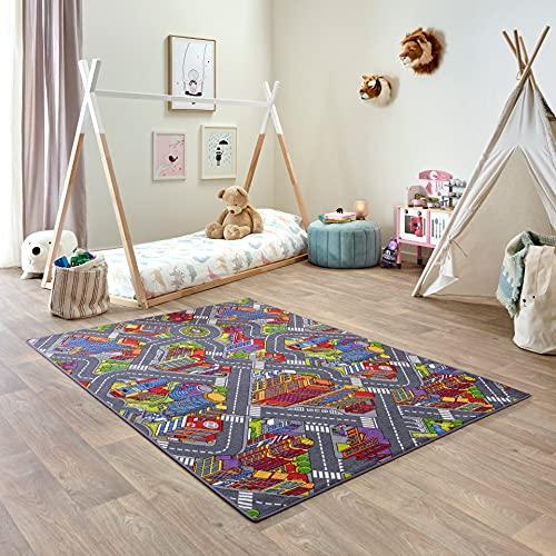 Carpet Studio Tappeto Bambini 140x200cm, Tappeto per Bambini per Cameretta & Stanza dei Giochi Ragazzi e Ragazze, Lavabile in Lavatrice, Facile da Pulire, Antiscivolo - Big City