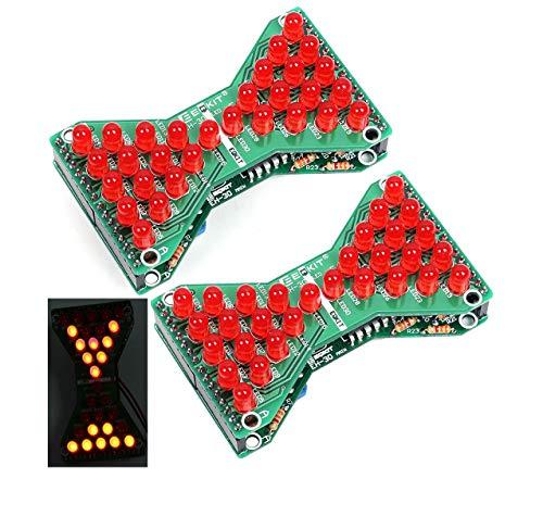 Kyrio 2 STÜCKE Rote LED Elektronische Sanduhr DIY Kit Löten Praxis Training Suite Lustige Elektrische Produktion Kits Mit Led-lampen Platine
