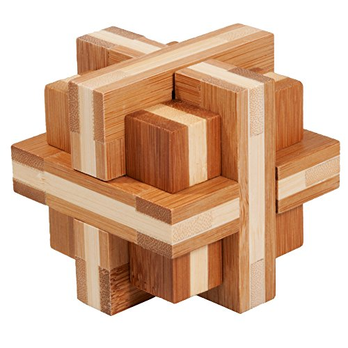 IQ de prueba Difficult parte doble cruz Madera Puzzle paciencia juego bambú