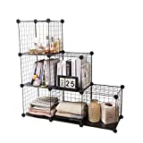 YCOCO 6 Wire Storage Modular Cubes,DIY Metal Grids Closet Organizer Storage Shelves Cubes with Wooden Hammer,Stackable Bookcase for Bedroom Living Room Office,Black