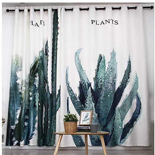 CURTAINSCSR 3D gedruckte Vorhang Grünes Aloe-Muster Thermovorhang Verdunkelungsgardine Lichtundurchlässige Vorhang mit Ösen für Schlafzimmer Wohnzimmer Geräuschreduzierung 2Panel75x166cm