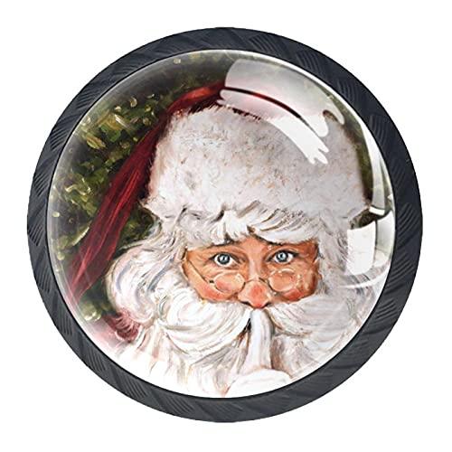 Perillas del gabinete 4pcs Tiradores vidrio cristal,Secreto Santa decorativa navidad vacaciones shhh barba sombrero ,para puerta mueble abierta o cajón