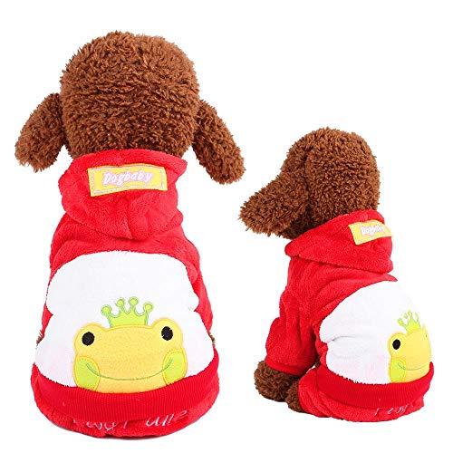 Miwaimao La nueva ropa de mascota terciopelo coral Dongkuan Yiwu de cuatro patas de dibujos animados ropa para perro de perro de la rana roja B06107, M