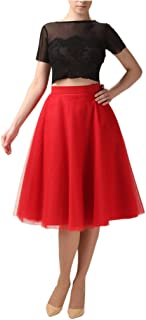 Lisong Women's Tea Length Layered Tulle A-Line Party Skirt