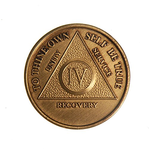 4 Year Bronze AA (Alcoholics Anonymous) - Sober / Sobriety / Birthday / Anniversary / Recovery / Medallion / Coin / Chip