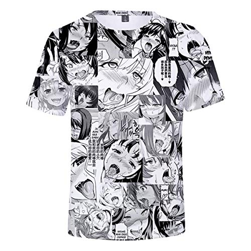 Men's 3D Print Ahegao Anime Face Shirt Couple Funny Short Sleeve Hipster Hip Hop Hoodie T-Shirt Style 1 M