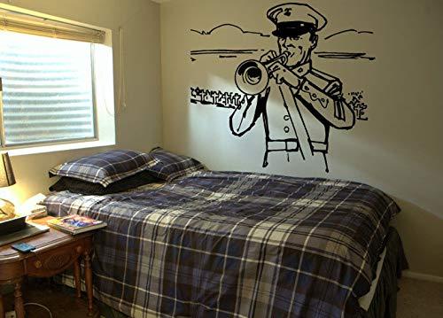 CECILIAPATER 285b Wandaufkleber für Schlafzimmer Musik Trompete Militär Soldat Band Melodie