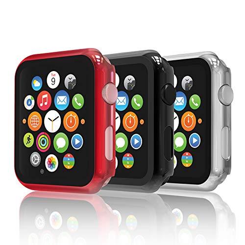 Hianjoo [3-Pack Cover con Vetro Temperato Compatibile per Apple Watch 38mm, Custodia Pellicola Proteggi Schermo Compatibile on Apple iWatch 38mm Series 3/2/1 - Nero, Argento, Rosso