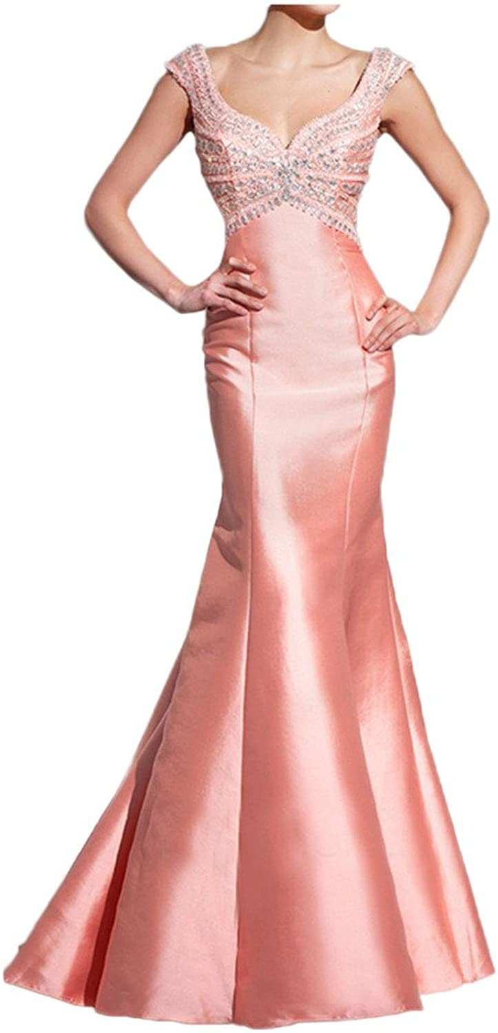 Avril Dress Elagant Straps Satin Double V Neck Mermaid Evening Formal Gown