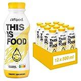 YFood Banane | Laktose und glutenfreier Nahrungsersatz | 34g Protein, 26 Vitamine und Mineralstoffe | Leckere Astronautennahrung - 25% des Kalorienbedarfs | Trinkmahlzeit, 12 x 500 ml (1 kcal/ml) -