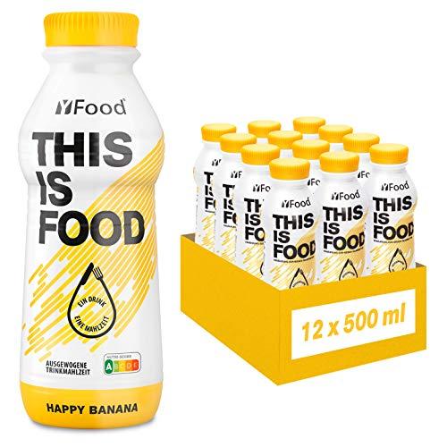 YFood Banana | Batido Sustitutivo | Sustitutivo de comida sin lactosa ni gluten | 33g de proteínas, 26 vitaminas y minerales | 25% de las calorías diarias requeridas | 12 x 500 ml (1kcal/ml)