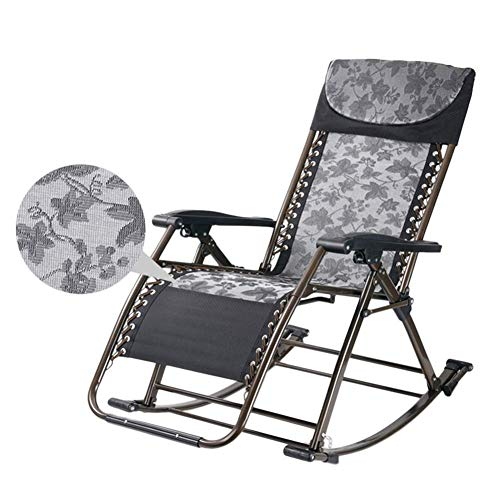FEE-ZC Rocker Sun Lounger Garden Chair - Chaise à Bascule Pliante d'extérieur avec Oreiller pour Jardin, Patio, terrasse, Support 200 kg (Couleur: Couleur café)