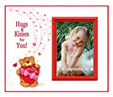 HUGS & Kisses for You! I Love You Photo Frame for Valentines | Easy to Mail Frame is 8.25 x 7 inches, Holds 3.5 x 5 Photo | Red Valentine Theme with Super Cute Bear