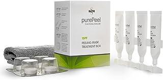 purePeel natürliche Gesichtsmaske aus Vlies/AHA Fruchtsäure-Peeling Serum 15pf, 30 ml - Tuchmasken 4er-Set bei fettiger Haut und Unreinheiten für alle Hauttypen geeignet