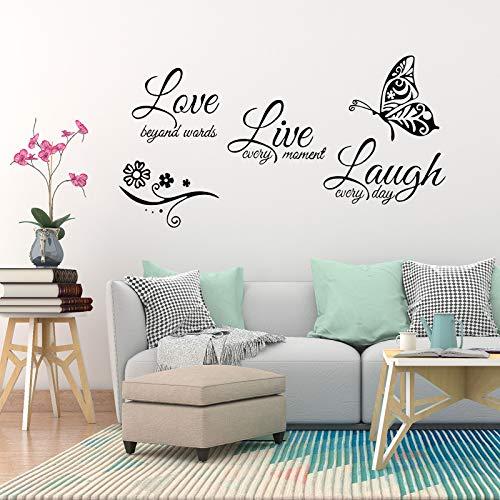 OOTSR Murale Wall Sticker, Adesivo da parete con scritta'Live, Laugh, Love', Decorazione fai da te per Casa Camera da Letto Soggiorno