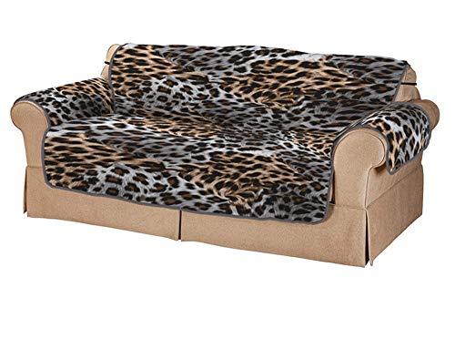 Insun Fundas de Sofa Protector de Sofá o Sillón Antideslizante Lavable Patrón de Leopardo 2 Plazas(114x180cm)