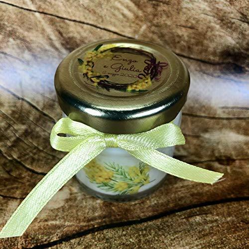Mimosa 5 mini candele profumi misti in vasetto con tappo personalizzato Segnaposto matrimonio comunione battesimo idea regalo 8 marzo giornata della donna fine festa