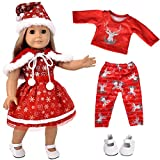 ebuddy 5pc Christmas Clothes Dress with 1 Pair Shoes for 18 inch Dolls Includes American Girl, Journey Girl, Our Generation