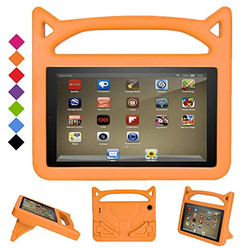 New Fire 7 2019 Case, Grand Sky-GTOMY Super Light Weight Shock Proof Handle Protective Stand Kids Case for Fire 7 inch Display Tablet (9th Gen-2019 Release & 7th Gen-2017 Release & 5th Gen-2015 Release) (Orange)