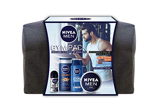 NIVEA MEN Neceser Gimnasio Gympack, neceser con gel de ducha (1 x 250 ml), champú reparador (1 x 250 ml), desodorante roll on (1 x 50 ml) y crema NIVEA MEN (1 x 75 ml)