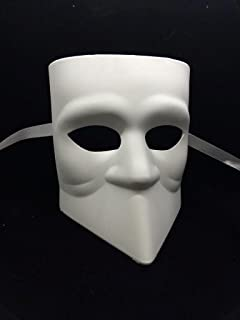 Unpainted Blank Mask, Bauta Mask, Mens Masquerade Mask for Costume Party DIY Mask
