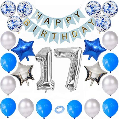 Kiwochy Silber Blau 17 Geburtstags Dekorationen 38 PCS 17.Geburtstagsdeko Jungen Geburtstagsdeko Blau Set 17 Geburtstags Ballons Alles Gute zum 17 Geburtstag Ballon für Mädchen und Jungen Geburtstag