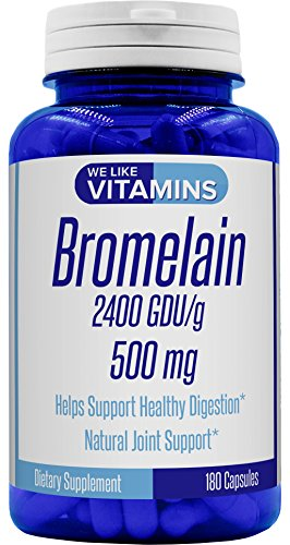 Bromelain 500mg - 180 Capsules - Bromelain Supplement - Proteolytic Enzymes from Pineapple Supporting Nutrient Absorption and Digestion 2400 GDU/g