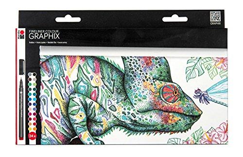 Marabu 0146000000103 - Fineliner Graphix, Set Hypnotize, brillante Farbe, wasserbasierte Pigmenttusche, metallgefasste Kunststoffspitze, Strichstärke ca. 0,5 mm, Set 24 mit tollen Farben