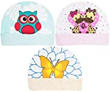 Neska Moda Baby Boys and Girls Pack of 3 Cotton Caps for 6 to 12 Months (Blue, Pink, Orange)