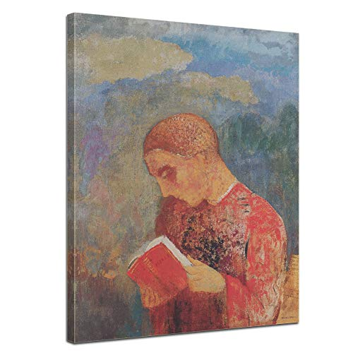 Leinwandbild Odilon Redon Mönch Lesung - 50x60cm hochkant - Wandbild Alte Meister Kunstdruck Bild auf Leinwand Berühmte Gemälde