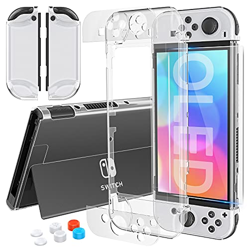 HEYSTOP Case Compatible with Nintendo Switch OLED Model Dockable, Hard PC Switch OLED Cover Case with Glass Screen Protector and 6Pcs Thumb Caps Protective Case Clear